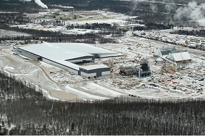 aerial view of the Arauco particleboard plant in Grayling, Michigan