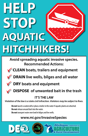 Sign reminding boaters to clean, drain and dry boats and gear