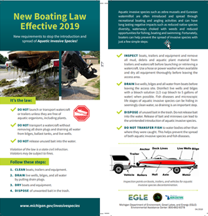 Both sides of rack card describing new boating laws