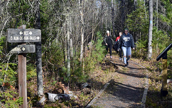 A group of women hike on the Iron Belle Trail near Ontonagon.