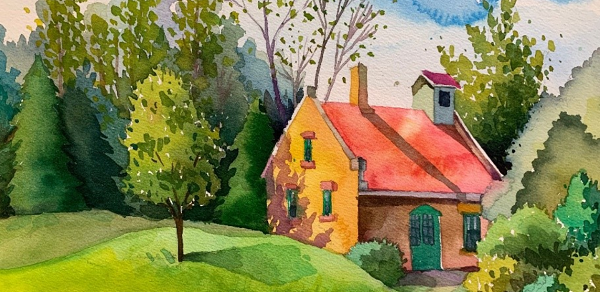 part of a painting of the red house in Leelanau State Park, created by artist Carmen Dykema for the DNR's Paint the Parks program