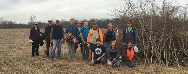 group of volunteers in field