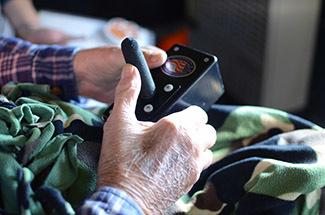 A joystick helps hunters take aim at their prey.