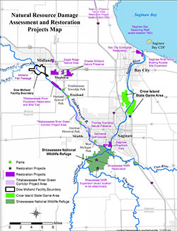 A map showing restoration project locations.