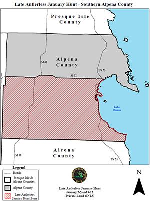 map of Alpena County TB deer hunt