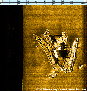 Sonar image of the Syracuse wreck from October 2013.