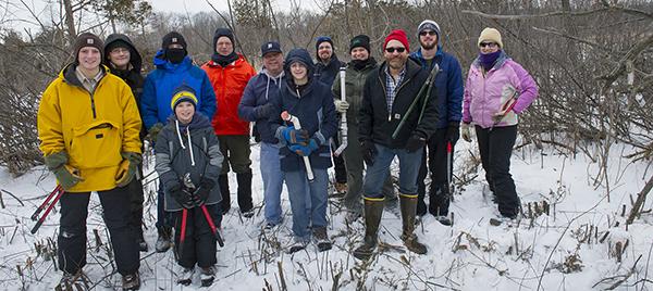 Group of state park volunteers in winter