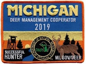 2019 winning Michigan Deer Management Cooperator Patch, designed by Spencer Reynolds of Lansing
