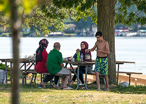 Family picnicking at Pontiac Lake Recreation Area