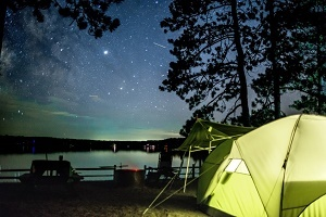 A beautiful night sky view from Big Bear Lake State Forest Campground