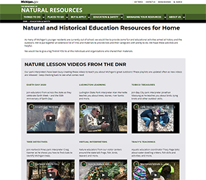 Michigan.gov/NatureatHome screenshot