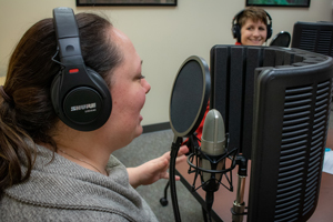 A view of DNR Wildlife Division staff recording a segment of the Wildtalk podcast.