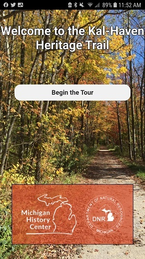 screen shot of the Kal-Haven Trail State Park mobile app