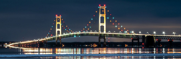 the Mackinac Bridge lit up