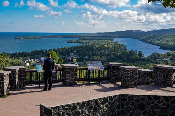 A overlook view of Copper Harbor in Keweenaw County is shown.
