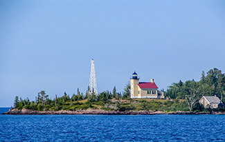 A view of the Copper Harbor Lighthouse is shown.