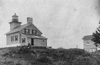 A historic photo shows the Copper Harbor Lighthouse in Keweenaw County.