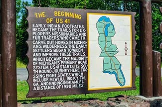 An interpretive sign is shown at the northern terminus of U.S. 41.