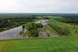 A drone view of a wetland area is shown.