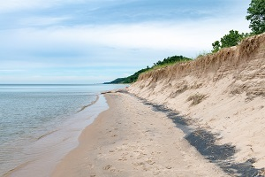 Lake Michigan shoreline view at Saugatuck Dunes State Park, Allegan County, Michigan