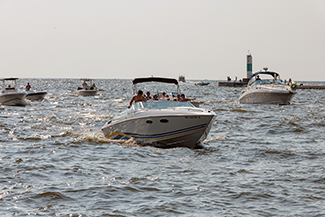 Boaters shown on the water near Grand Haven are shown in this photograph.