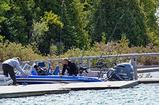 Boaters docking at the Lime Island Recreation Area in the eastern Upper Peninsula in 2019.