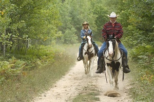 A man and woman riding horses on a trail at Goose Creek State Forest Campground in Missaukee County, Michigan.