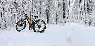A fat tire bike is shown parked alongside a trail after a fresh snowfall.