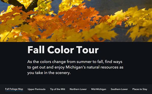 Screenshot of fall color map