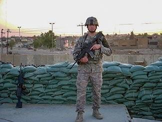 Chad Baldwin shown on military duty in Kirkuk, Iraq in 2008.
