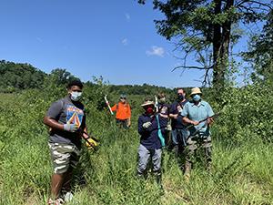 group of stewardship volunteers wearing face masks