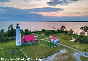 Aerial photo of Tawas Point Lighthouse
