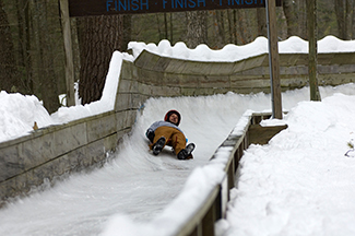 An accessible luge track is shown at Muskegon State Park in Muskegon County.