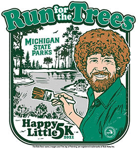 Run for the Trees/Happy Little 5K Bob Ross graphic