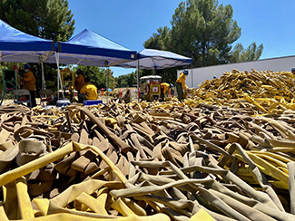 More than 70,000 feet of fire hose is shown piled for rerolling from the Lake Fire in California.
