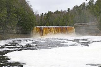 Falls at Tahquamenon Falls State Park in winter