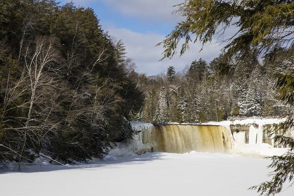 a view of the frozen Tahquamenon River in Michigan's eastern Upper Peninsula