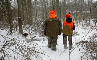 View from behind of an adult and youth hunter, dressed in hunter orange, and a dog in the snowy woods