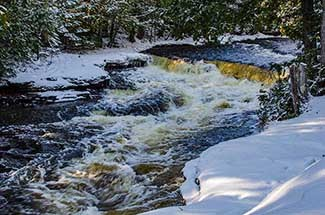 Whitefish Falls in Alger County are shown on a winter's day.