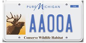 wildlife habitat license plate with elk illustration