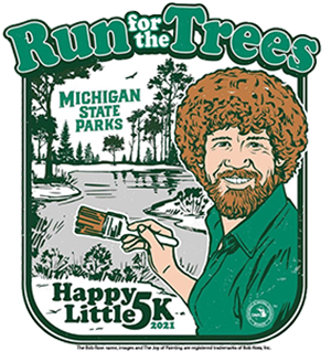 Run for the Trees / Happy Little 5K graphic with Bob Ross