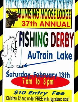 Munising Moose Lodge fishing derby poster.