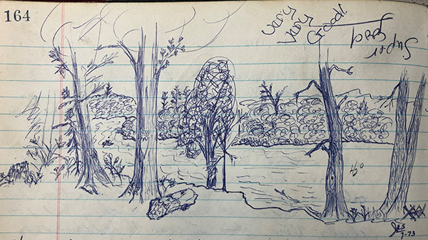 A landscape scene drawn in pen in a park logbook by a visitor in the 1970s.