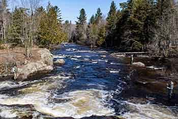 Spring steelhead fishermen are trying their luck at the Huron River at Big Eric's Bridge in Baraga County.