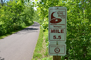 trail with Iron Belle Trail sponsorship sign
