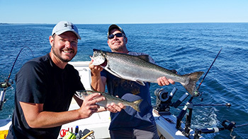 Two angles on Lake Michigan are shown with Chinook salmon catches.