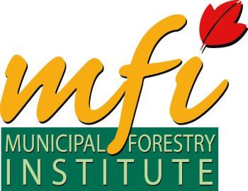Municipal forestry institute graphic, featuring gold text, an orange leaf, and green highlight