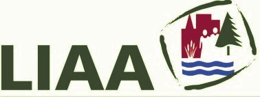 Logo for Land Information Access Association in green text with a square encompassing a tree, water and people
