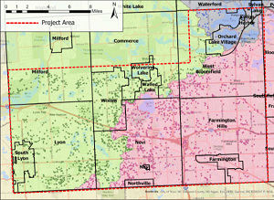 A map of the cities, villages and townships in Oakland County, highlighting the survey area in the southwest corner with a dashed red line.