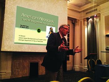 Al Stewart is shown giving a presentation on American woodcock.